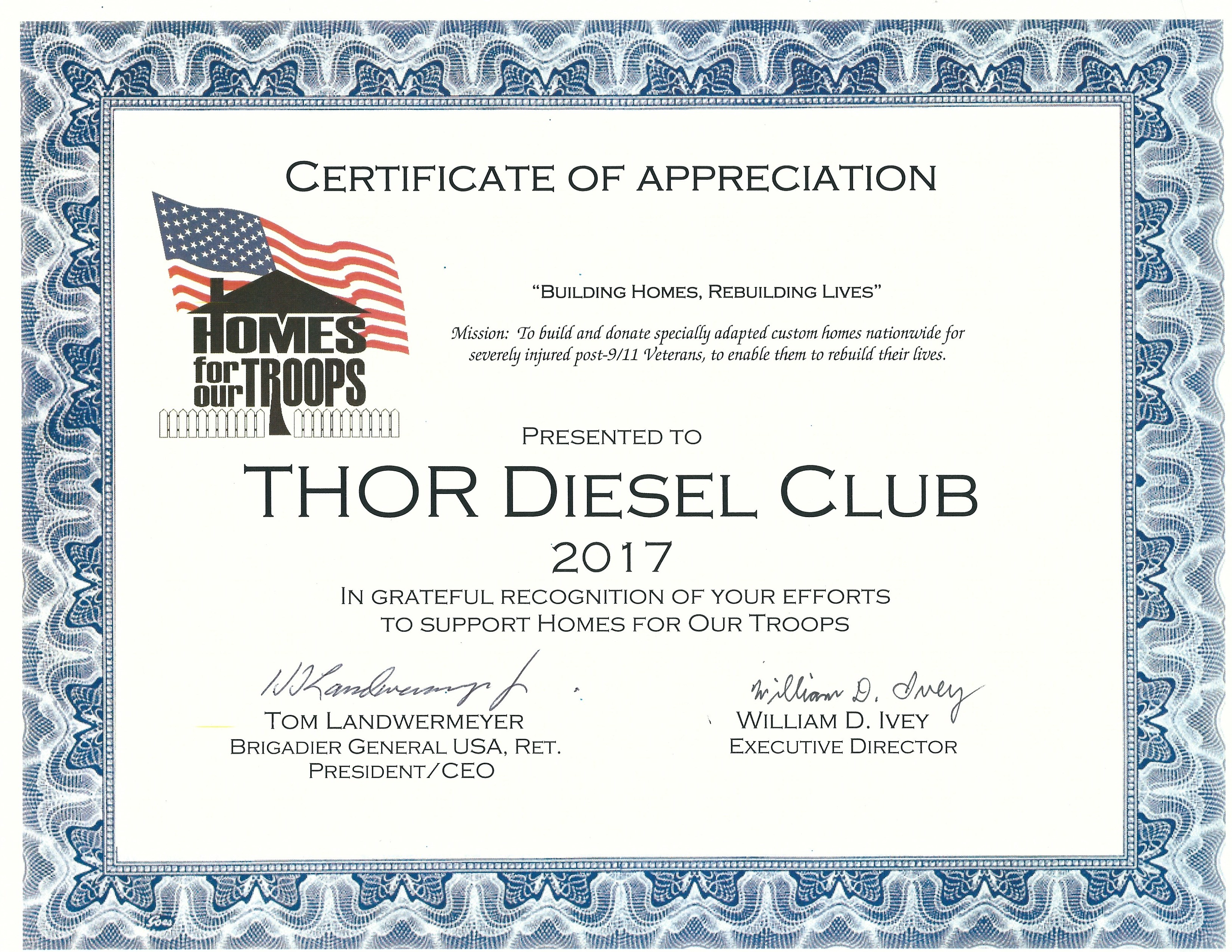 Charities thor diesel club homes for our troops 2017 certificate of appreciation yadclub Image collections